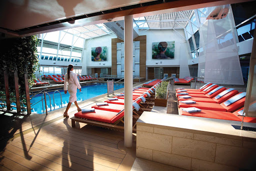 Celebrity_Silhouette_Solarium - The enclosed Solarium Pool is one several areas you can cool off in while cruising on Celebrity Silhouette.
