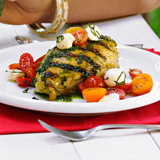 Garlic-Basil Grilled Chicken with Caprese Salsa