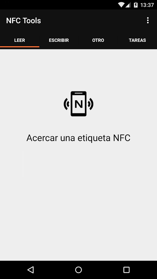 NFC Tools: captura de pantalla