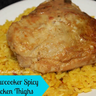 Slowcooker Spicy Chicken Thighs.