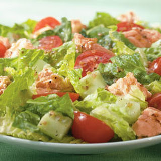 Salmon Salad With Cucumber & Cherry Tomatoes.