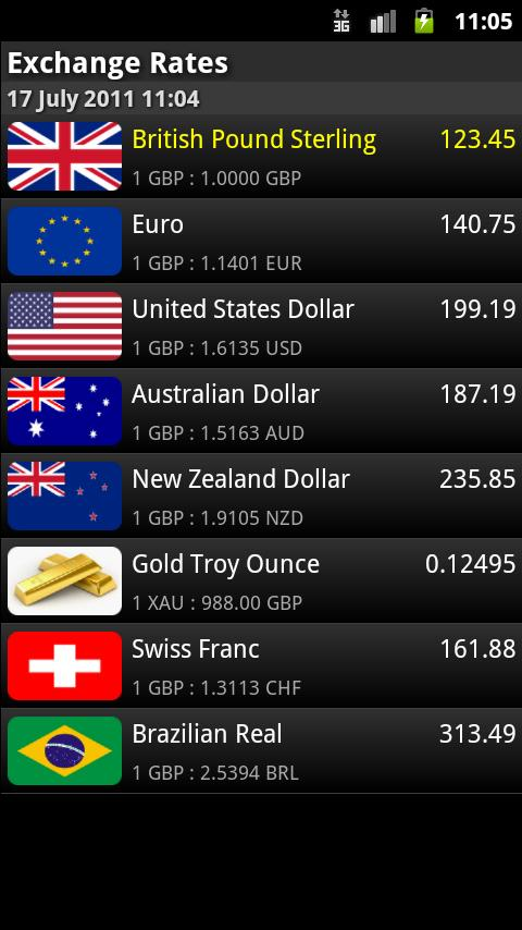 Exchange Rates - screenshot