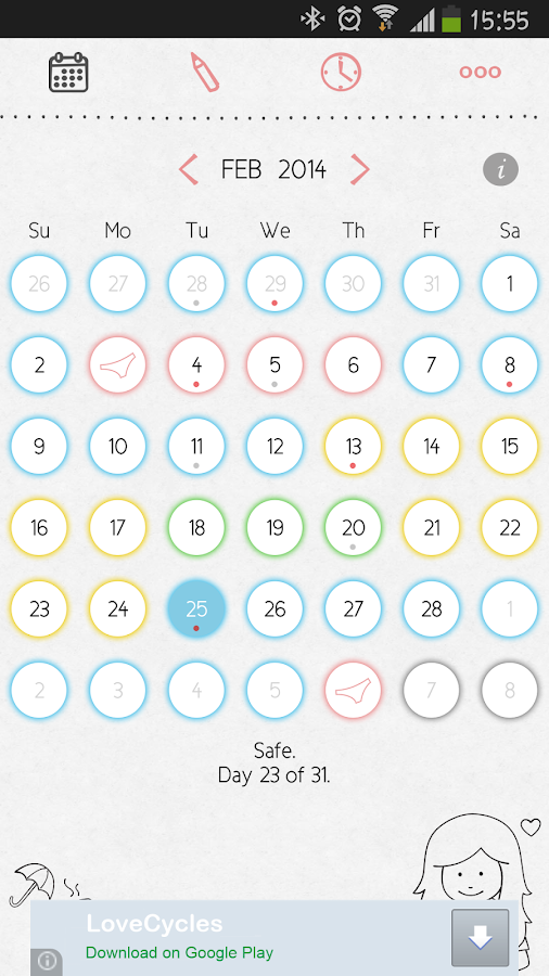 LoveCycles Menstrual Calendar- screenshot