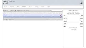 Screenshot of Cash register for Sales points