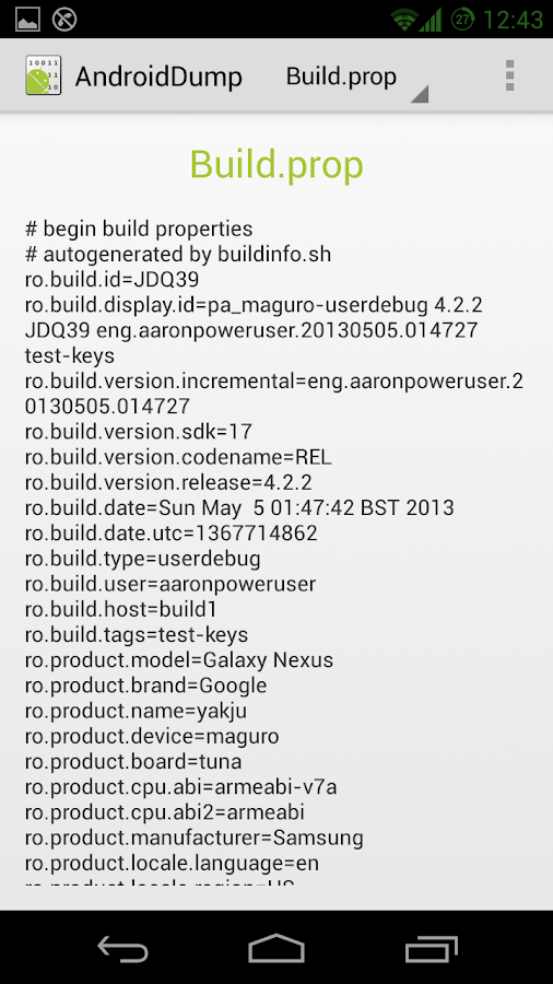 Android DUMP - screenshot