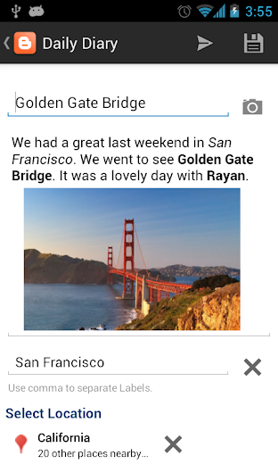 Screenshot 1 for Blogger's Android app'