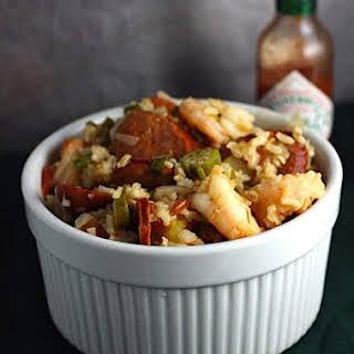 Cajun Jambalaya with Okra, Andouille and Shrimp.