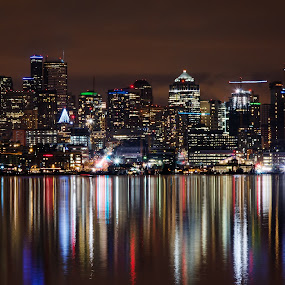 Reflections in Seattle by Eddie Yerkish - City,  Street & Park  Night ( water, reflection, colors, pacific, northwest, lake, travel, cityscape, architecture, nightscape, city, lights, washington, tourist, seattle, union, outdoors, buildings, night, nikon )