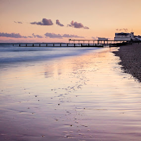 Sunset by Jose Rabina - Landscapes Beaches ( water, reflection, sunset, pier, sea )