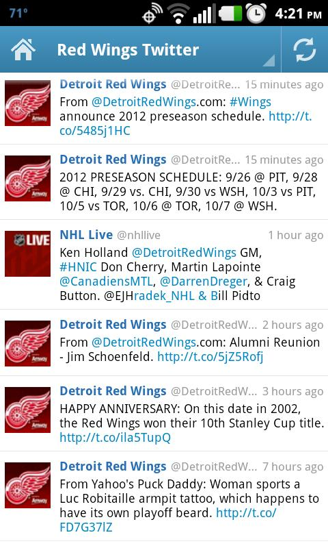 Detroit Red Wings Fan App- screenshot