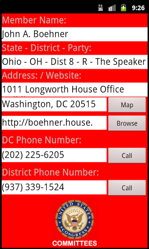 U.S. Congress Committees House- screenshot