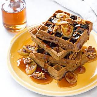 Banana-Buckwheat Waffles with Banana-Walnut Syrup.