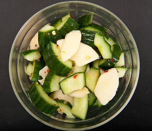 Cucumber and nashi (Asian pear) marinated salad