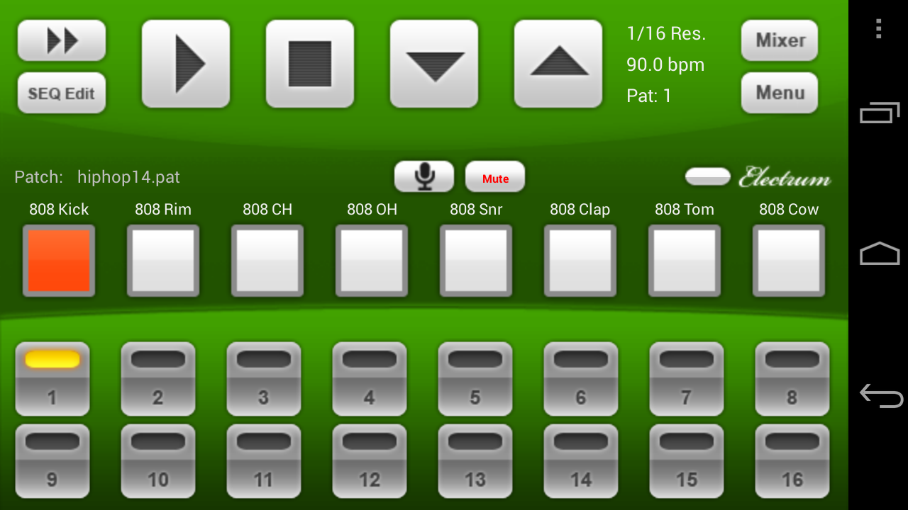 Electrum Drum Machine/Sampler- screenshot