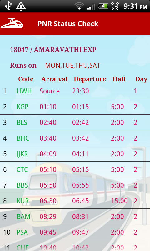 PNR Status - Indian Railways- screenshot