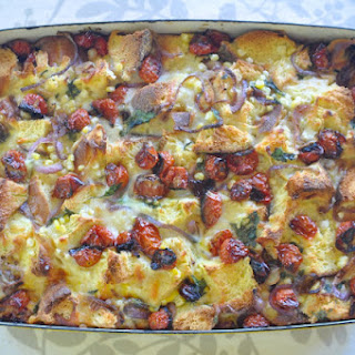 Savory Bread Pudding with Roasted Cherry Tomatoes, Corn & Cilantro