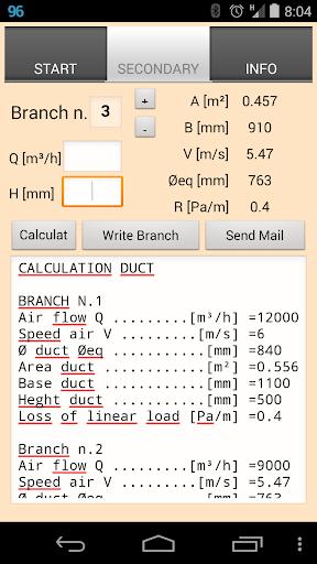 Duct Calc pressure drop method