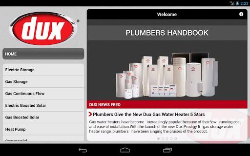 Dux Plumbers Handbook - Tablet