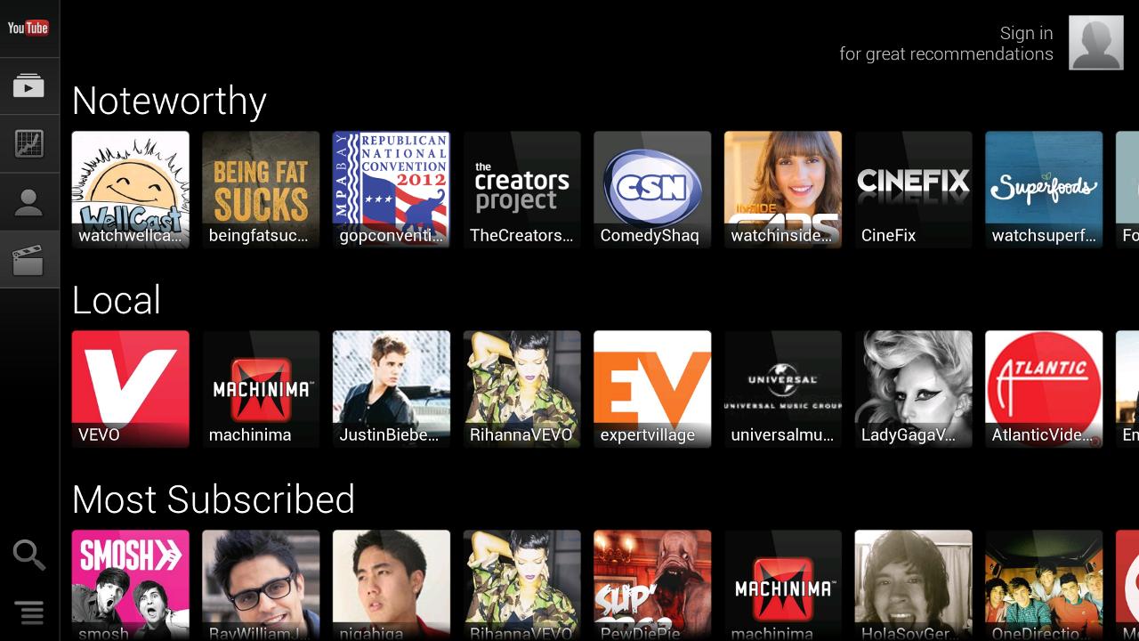 YouTube for Google TV - screenshot