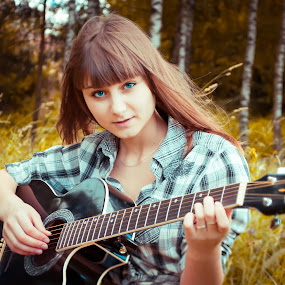 guitar and girl  by Mary Ozh  - People Musicians & Entertainers ( #summer #2014 #guitar #belarusian girls )