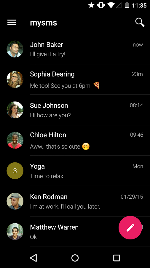 mysms SMS Text Messaging Sync- screenshot