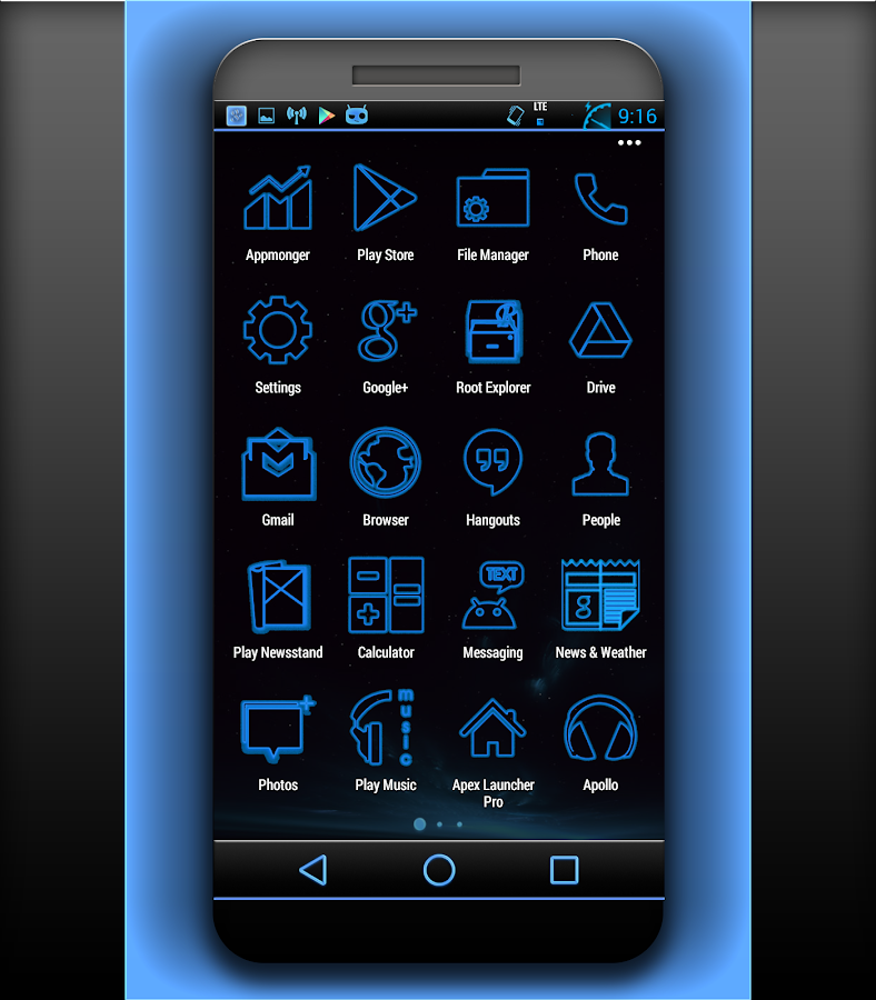 NEW CM 11 THEME STOCK GLOW- screenshot