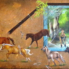 The Breakout by Alicia McNally - Painting All Painting ( acrylic painting, running horses, equine, horse )