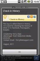 Screenshot of Check-in History