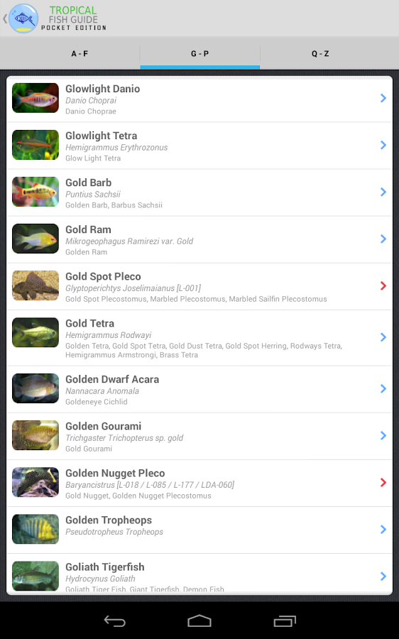 Tropical Fish Guide Pocket Ed. - screenshot