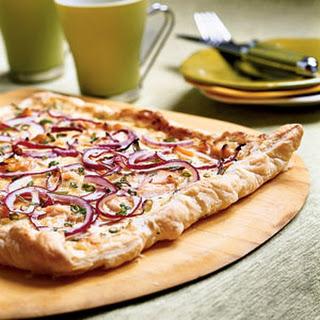 Peppered Three-Onion Tart with Smoked Salmon.