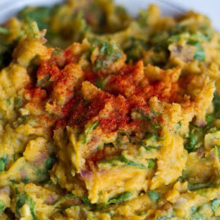 Garlic Pumpkin Mashed Potatoes with Spinach Recipe