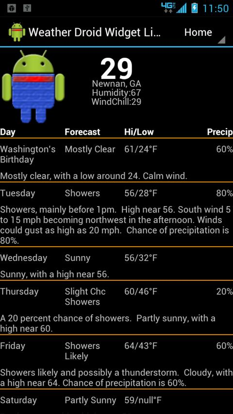Weather Droid Widget Lite - screenshot
