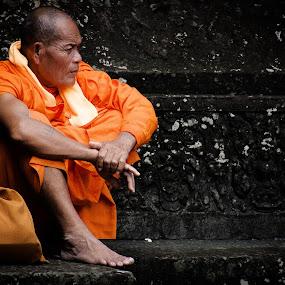 Waiting Monk by Natalie Ziegler - People Street & Candids