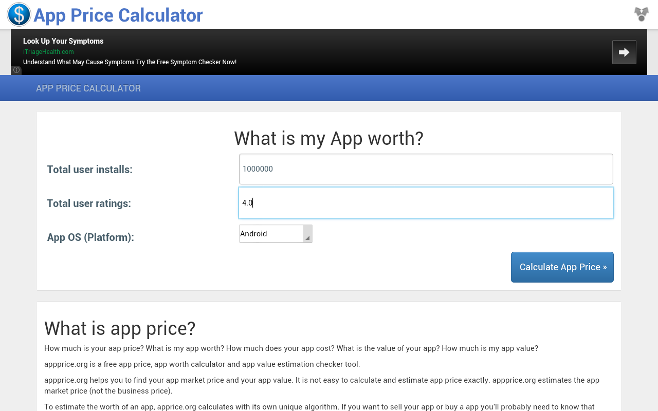 App Price Calculator- screenshot