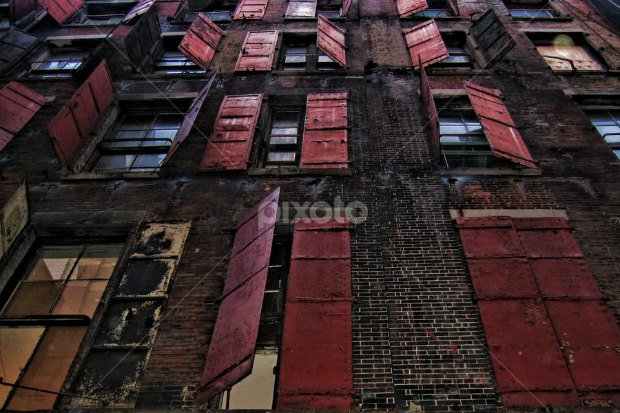 Red Shutters by Jack Turkel - Buildings & Architecture Other Exteriors ( factory:windows, old_bulding, shutters )