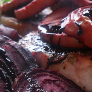 Pork Chops with Grilled Beets and Apples in a Balsamic Reduction.