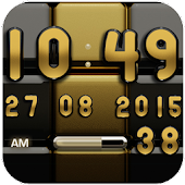 Digi Clock Black Gold widget