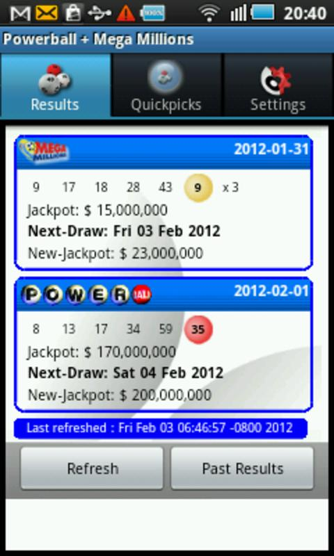 Powerball + Mega Millions - screenshot