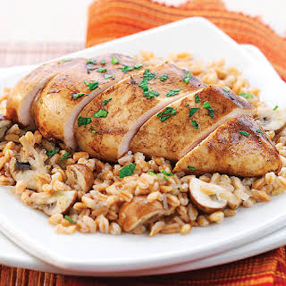 Balsamic Dijon Chicken with Farro & Mushrooms.