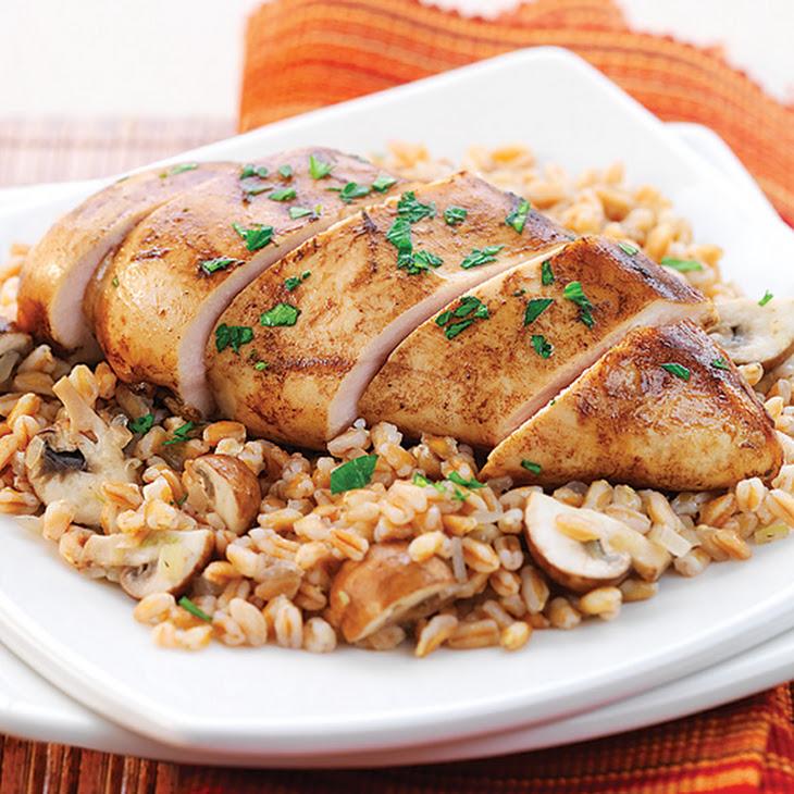Balsamic Dijon Chicken with Farro & Mushrooms