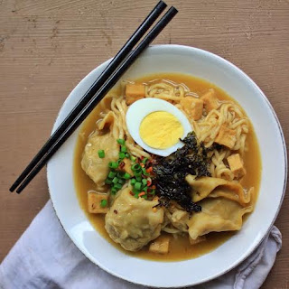 Miso Mushroom Ramen with Vegetarian Wontons and Crispy Tofu.