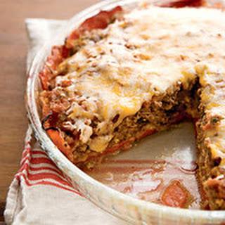 Crustless Tex-Mex Meatloaf-Cheddar Pie.