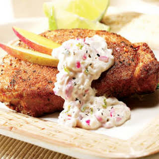 Pork Chops With Creamy Lime Salsa.