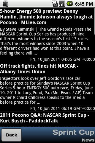Nascar Info - screenshot
