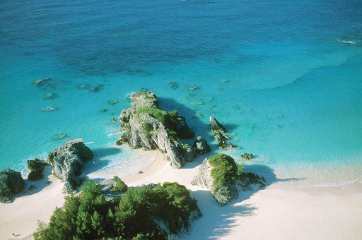 Peel-Rock-Bermuda - An aerial view of Peel Rock Cove, a great getaway in Warwick Camp, Bermuda.