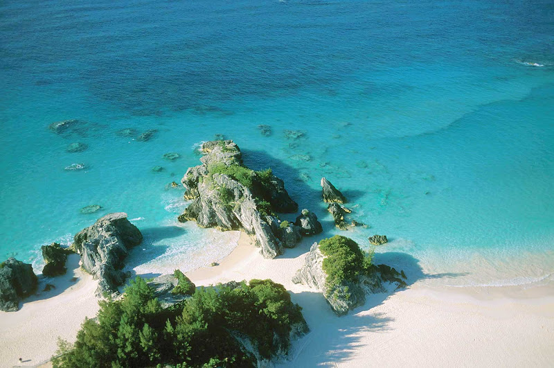 An aerial view of Peel Rock Cove, a great getaway in Warwick Camp, Bermuda.