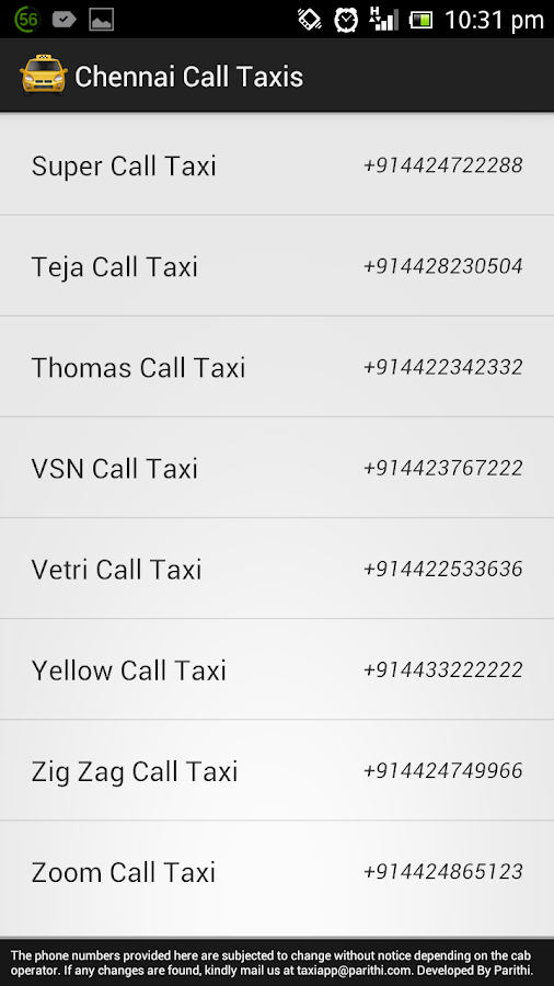 Chennai Call Taxis - screenshot