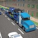 3D Car transport trailer truck icon