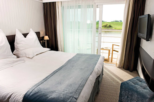 Scenic-Cruises-With-Balcony - Guests aboard a Scenic Cruises river cruise can enjoy the passing landscapes from a private balcony only steps away from their beds.
