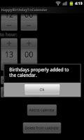 Screenshot of Happy Birthday To Calendar
